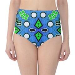 Florescent Blue Green Abstract  High-Waist Bikini Bottoms