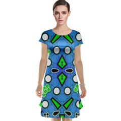 Florescent Blue Green Abstract  Cap Sleeve Nightdresses