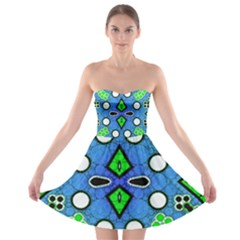 Florescent Blue Green Abstract  Strapless Bra Top Dress