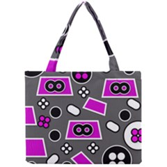 Grey Pink Abstract  Tiny Tote Bags