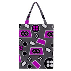Grey Pink Abstract  Classic Tote Bags