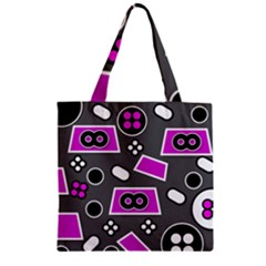 Grey Pink Abstract  Zipper Grocery Tote Bags