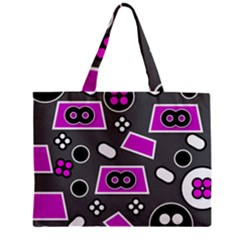 Grey Pink Abstract  Zipper Tiny Tote Bags