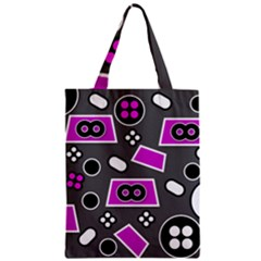 Grey Pink Abstract  Zipper Classic Tote Bags