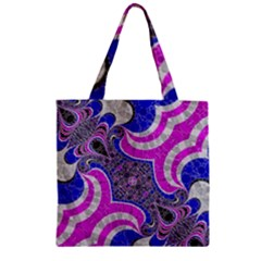 Beautiful Blue Black Abstract  Zipper Grocery Tote Bags