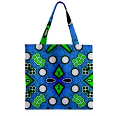 Florescent Blue Green Abstract  Zipper Grocery Tote Bags