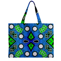 Florescent Blue Green Abstract  Zipper Tiny Tote Bags