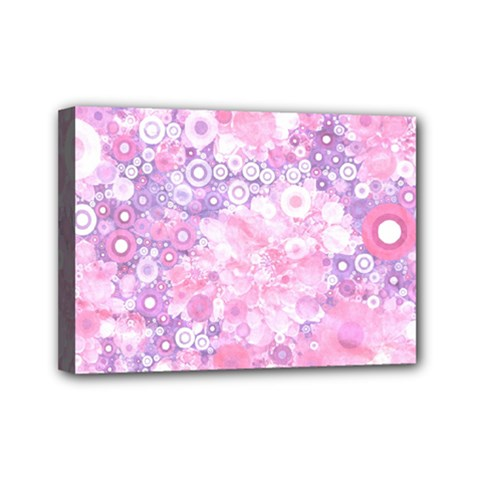 Lovely Allover Ring Shapes Flowers Pink Mini Canvas 7  x 5