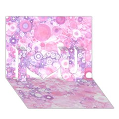 Lovely Allover Ring Shapes Flowers Pink I Love You 3d Greeting Card (7x5)