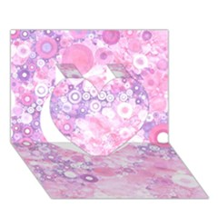 Lovely Allover Ring Shapes Flowers Pink Heart 3D Greeting Card (7x5)