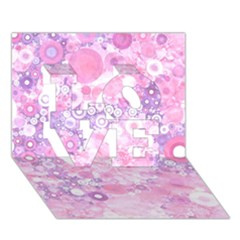 Lovely Allover Ring Shapes Flowers Pink Love 3d Greeting Card (7x5)