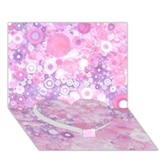 Lovely Allover Ring Shapes Flowers Pink Heart Bottom 3D Greeting Card (7x5)