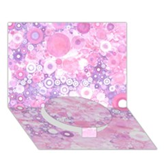 Lovely Allover Ring Shapes Flowers Pink Circle Bottom 3D Greeting Card (7x5)