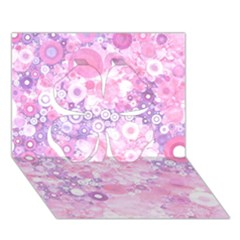 Lovely Allover Ring Shapes Flowers Pink Clover 3D Greeting Card (7x5)