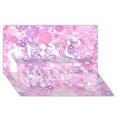 Lovely Allover Ring Shapes Flowers Pink Best Wish 3d Greeting Card (8x4)