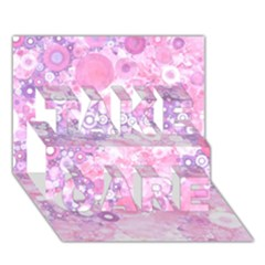 Lovely Allover Ring Shapes Flowers Pink TAKE CARE 3D Greeting Card (7x5)