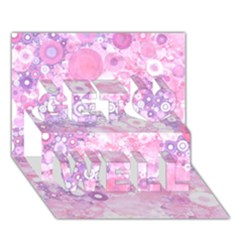 Lovely Allover Ring Shapes Flowers Pink Get Well 3D Greeting Card (7x5)