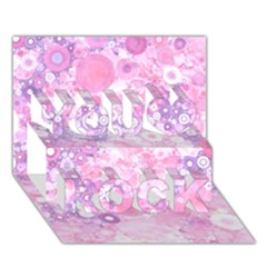 Lovely Allover Ring Shapes Flowers Pink You Rock 3d Greeting Card (7x5)