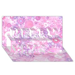 Lovely Allover Ring Shapes Flowers Pink Merry Xmas 3D Greeting Card (8x4)