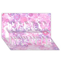 Lovely Allover Ring Shapes Flowers Pink Happy New Year 3d Greeting Card (8x4)