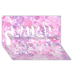 Lovely Allover Ring Shapes Flowers Pink Laugh Live Love 3D Greeting Card (8x4)