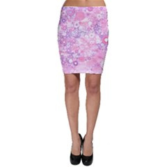 Lovely Allover Ring Shapes Flowers Pink Bodycon Skirts