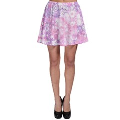 Lovely Allover Ring Shapes Flowers Pink Skater Skirts