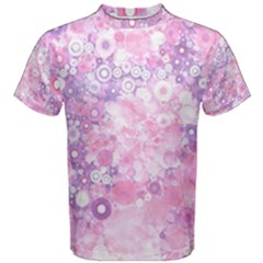 Lovely Allover Ring Shapes Flowers Pink Men s Cotton Tees