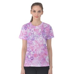 Lovely Allover Ring Shapes Flowers Pink Women s Cotton Tees
