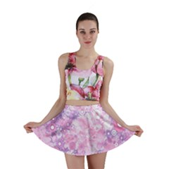 Lovely Allover Ring Shapes Flowers Pink Mini Skirts
