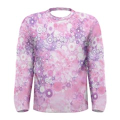 Lovely Allover Ring Shapes Flowers Pink Men s Long Sleeve T-shirts