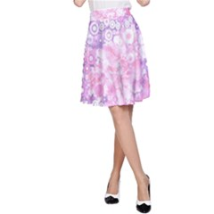 Lovely Allover Ring Shapes Flowers Pink A Line Skirts