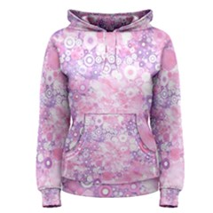 Lovely Allover Ring Shapes Flowers Pink Women s Pullover Hoodies