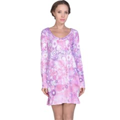 Lovely Allover Ring Shapes Flowers Pink Long Sleeve Nightdresses