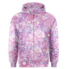 Lovely Allover Ring Shapes Flowers Pink Men s Zipper Hoodies