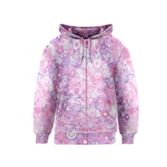 Lovely Allover Ring Shapes Flowers Pink Kids Zipper Hoodies