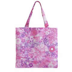 Lovely Allover Ring Shapes Flowers Pink Zipper Grocery Tote Bags