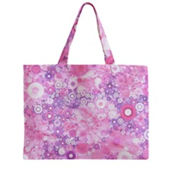 Lovely Allover Ring Shapes Flowers Pink Zipper Tiny Tote Bags