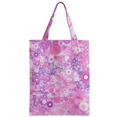 Lovely Allover Ring Shapes Flowers Pink Zipper Classic Tote Bags