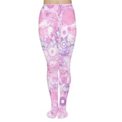 Lovely Allover Ring Shapes Flowers Pink Women s Tights