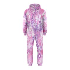 Lovely Allover Ring Shapes Flowers Pink Hooded Jumpsuit (Kids)