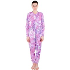 Lovely Allover Ring Shapes Flowers Pink OnePiece Jumpsuit (Ladies)
