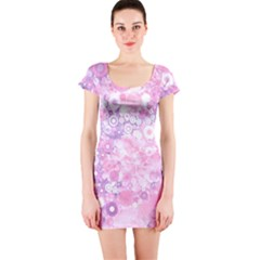 Lovely Allover Ring Shapes Flowers Pink Short Sleeve Bodycon Dresses