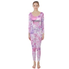 Lovely Allover Ring Shapes Flowers Pink Long Sleeve Catsuit