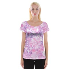 Lovely Allover Ring Shapes Flowers Pink Women s Cap Sleeve Top