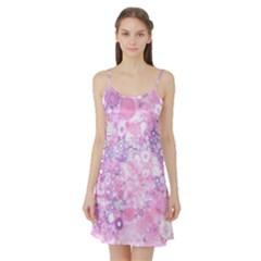 Lovely Allover Ring Shapes Flowers Pink Satin Night Slip