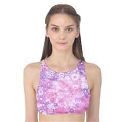 Lovely Allover Ring Shapes Flowers Pink Tank Bikini Top