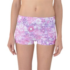 Lovely Allover Ring Shapes Flowers Pink Reversible Boyleg Bikini Bottoms