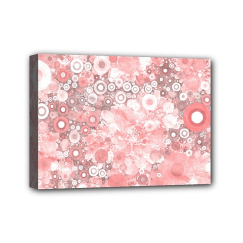 Lovely Allover Ring Shapes Flowers Mini Canvas 7  x 5