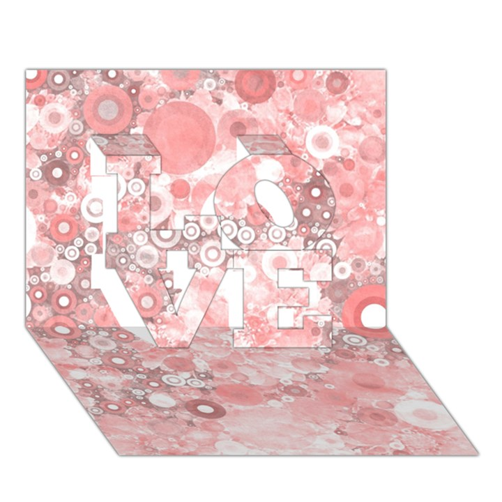 Lovely Allover Ring Shapes Flowers LOVE 3D Greeting Card (7x5)